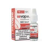 88 Vape - 18mg -  Sweet Strawberry E Liquid - 50/50 Nic Hit - 10 x 100ml (100ml Total)