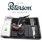 Peterson - Pipe Makers Series - XL02 Sandblast Silver Cap Spigot - Leather Pouch Pipe Set