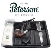 Peterson - Pipe Makers Series - 68 Sandblast Silver Cap Spigot - Leather Pouch Pipe Set