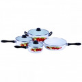 Gourmet Chef 7 Piece Enamel Cookware Set - Apple Design - E168