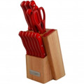 PURE COMFORT 13pc Knife Block Set Red Handles - PLKS-2111