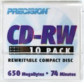 PRECISION CD-R reWritable 74-Minute 650MB, 10-Pack in Envelopes - 57707010