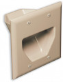 DATACOMM 2-Gang Recessed Low Voltage Cable Plate, Ivory - 45-0002-IV