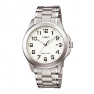 CASIO 30 Meter Water Resistant Stainless Steel 3-Hand Analog Watch with Date - MTP-1215A-7B2