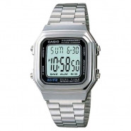 CASIO A178 Mens Dual Time Digital Classic Metal Band Watch - A178WA-1A