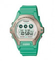 CASIO Ladies Illuminator Water-Resistant Watch, White Dial & Green Resin Strap - LW-202H-3AV