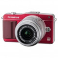OLYMPUS E-PM2 Mirrorless Micro Four Thirds Digital SLR Camera with 14-42mm f3.5-5.6 II Lens (Red) - V206021RU000
