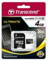 TRANSCEND microSDHC (High Capacity) 4GB Class10 Ultra Speed 133x with SD Adapter - Full HD recording capability - TS4GUSDHC10