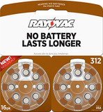 RAYOVAC HEARING AID BATTERIES SIZE 312 16 PACK