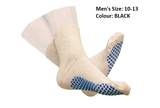 DIABETIC SLIPPER SOCKS WITH GRIP SOLES MENS BLACK SIZE 10 TO 13