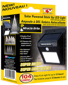 MIRACLE BRITE SOLAR POWERED OUTDOOR LIGHT