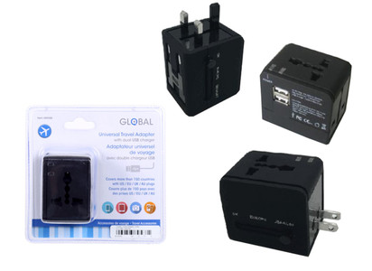 GLOBAL TRAVEL ADAPTER WITH 2 USB