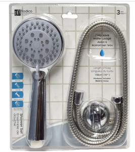 SHOWER HEAD SET WITH HOSE AND MOUNT
