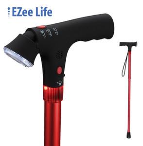 EZEE LIFE FOLDING CANE WITH FLASHLIGHT AND ALARM RED SHORT