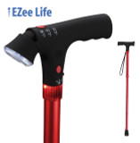 EZEE LIFE FOLDING CANE WITH FLASHLIGHT AND ALARM RED SHORT