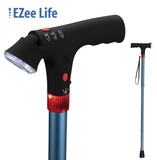 EZEE LIFE FOLDING CANE WITH FLASHLIGHT AND ALARM BLUE SHORT