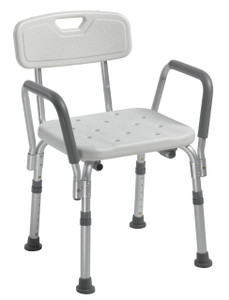 DRIVE MEDICAL SHOWER CHAIR WITH BACK AND REMOVABLE PADDED ARMS