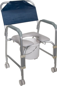 LIGHTWEIGHT PORTABLE SHOWER COMMODE CHAIR WITH CASTERS DRIVE (AC6134)