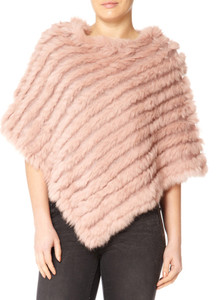 Pink Coney Fur Poncho RF1018A-B06