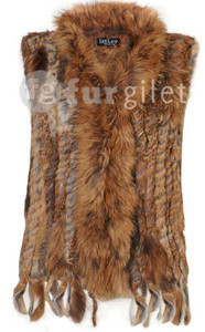 Short Mocha Coney and Fox Fur Gilet (with tassels) FF48A-09