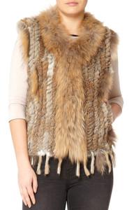 Short Mocha Coney and Fox Fur Gilet (with tassels) FF48A-09