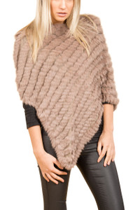 Dark Mocha Coney Fur Poncho RF1018A-D09
