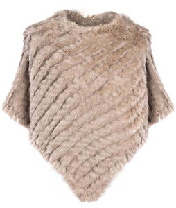 Dark Mocha Coney Fur Poncho