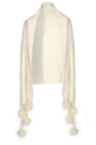 Cashmere and Silk Scarf with Faux Pom Poms in Ivory