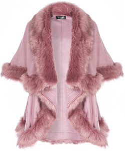 Faux Fur Wrap in Pink