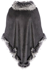 Faux Suede and Faux Fur Poncho in Black with Silver Tips