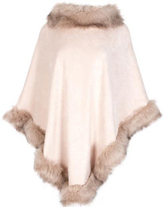 Faux Suede and Faux Fur Poncho in Pink SUFM23A- 06