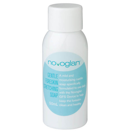 NOVOGLAN GFS Gentle Foreskin Cleansing Soap, specially formulated to be gentle on your foreskin and help keep your foreksin clean and healthy. Use daily. Treat Smega, balanitis and thrush the easy way.