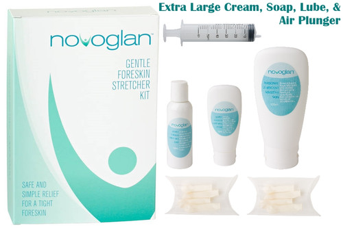 NOVOGLAN Complete Foreskin Care Kit is the ultimate solution to treat a tight foreskin and fix phimosis in the privacy of your own home.The Complete Care Kit contains the multi-award winning patented Gentle Foreskin Stretcher plus the scientifically formulated NOVOGLAN Cream, Soap and Personal Lubricant. All these products are designed to work together to reduce the inflammation of your foreskin and allow the skin to get maximal stretching for optimum results. Perfect treatment for adult phimosis and an ideal alternative to circumcision.