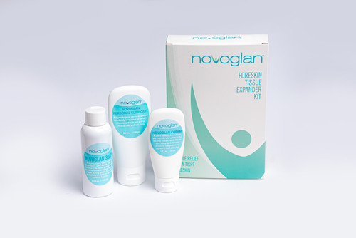 NOVOGLAN Complete Foreskin Care Kit is the ultimate solution to treat a tight foreskin and fix phimosis in the privacy of your own home. The Complete Care Kit contains the multi-award winning patented Gentle Foreskin Stretcher plus the scientifically formulated NOVOGLAN Cream, Soap and Personal Lubricant. All these products are designed to work together to reduce the inflammation of your foreskin and allow the skin to get maximal stretching for optimum results. Perfect treatment for adult phimosis and an ideal alternative to circumcision.