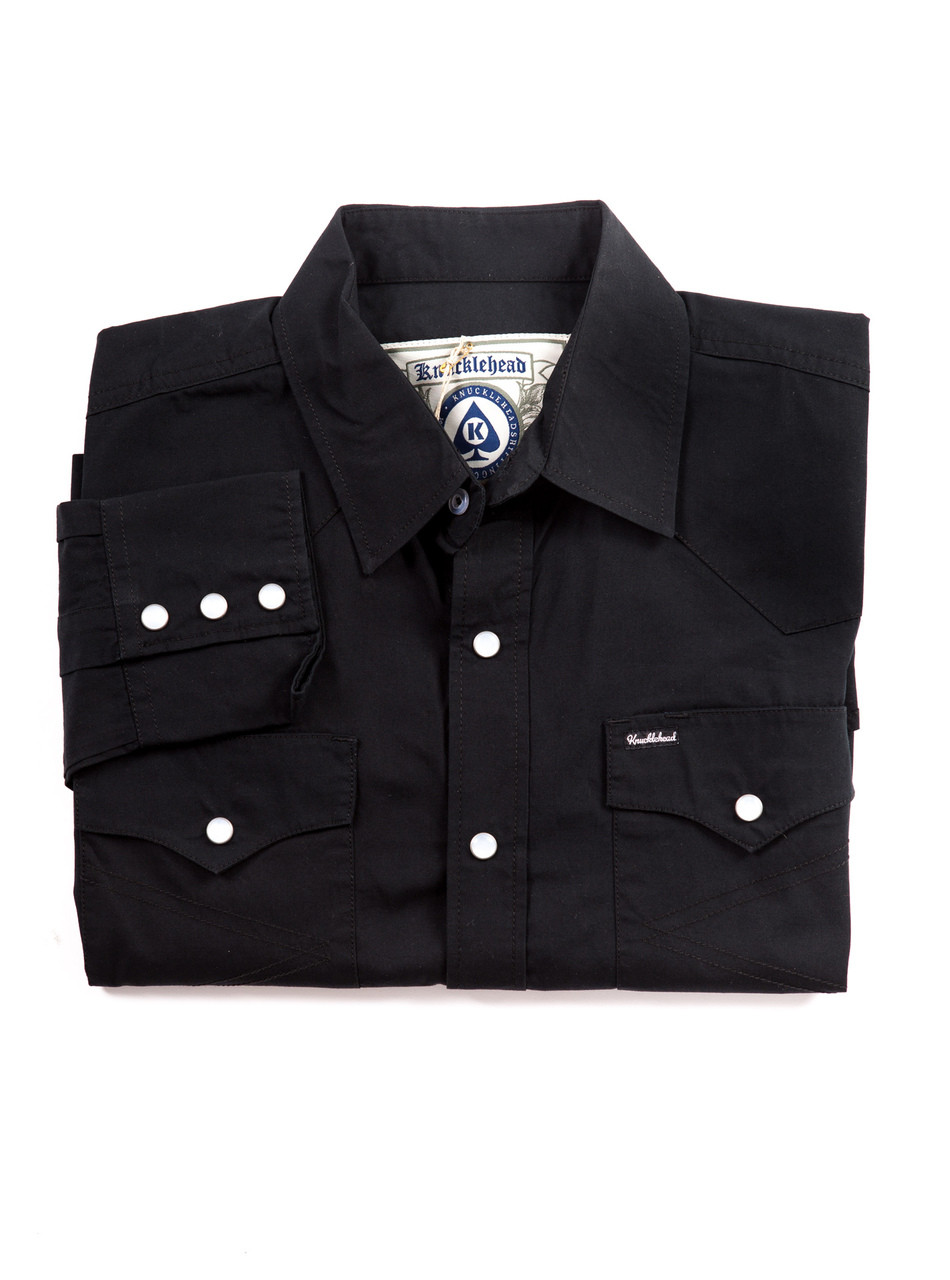 The Dixon v3 - 100% Black Cotton Western Shirt with Ivory press buttons