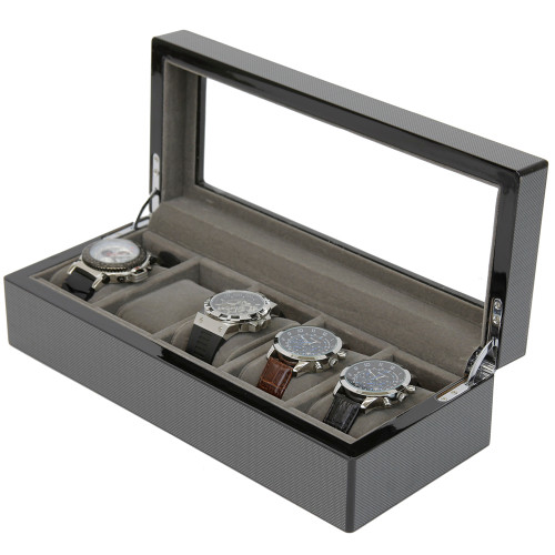 Carbon Fiber Watch Box Compact Store For 5 Watches