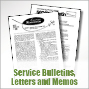 Service Bulletins, Letters and Memos