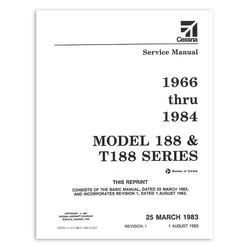 D2054-1-13 CESSNA 188 AG SERIES SERVICE MANUAL 1966-84