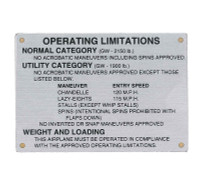 108-8741001-6   STINSON OPERATING LIMITATIONS PLACARD