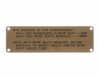 108-8741001-8   STINSON BAGGAGE PLACARD