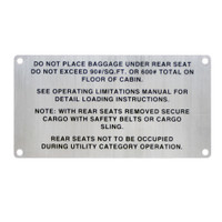 108-8742001-16   STINSON BAGGAGE PLACARD
