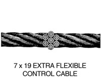 3/32-7X19G   FLEXIBLE 7X19 CONTROL CABLE - GALVANIZED - 3/32 INCH