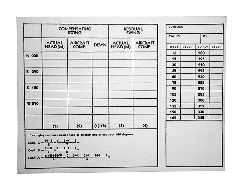 An5823 1 Compass Correction Card Univair Aircraft Corporation