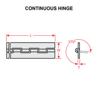 MS20257-3-7200   CONTINUOUS HINGE - 6 FEET