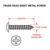 4X1/4-TRA-SS   TRUSS HEAD SCREW - TYPE A RECESSED