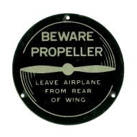 415-51026   ERCOUPE BEWARE PROPELLER PLACARD