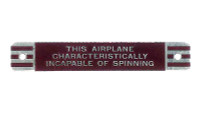 415-51007   ERCOUPE NON-SPIN PLACARD - LATE MODEL
