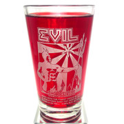 The official Evil Lager beer glass dragged out of Hell, for your enjoyment