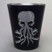 Jolly Roger Cthulhu black shot glass