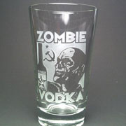 Zombie Vodka etched beer glass